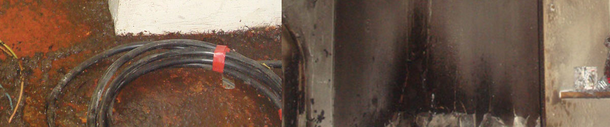 image of sewage left after a flood at a business, and smoke and fire damage in a domestic property, to illustrate the flood and fire restoration services of DRI Emergency Response